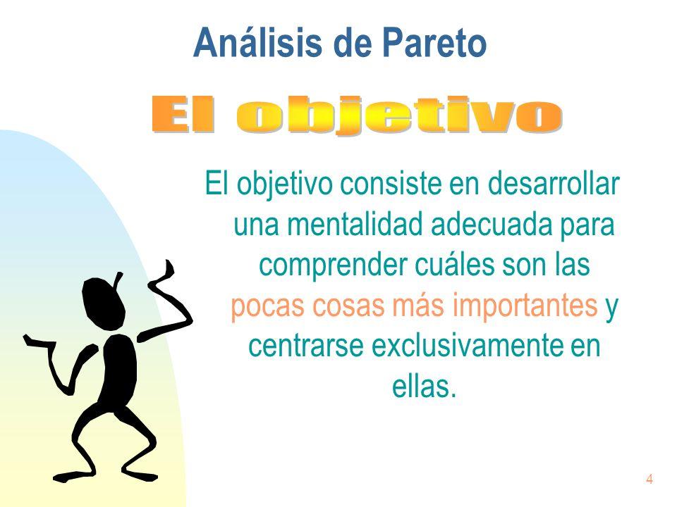 4 Análisis de Pareto El objetivo consiste en desarrollar una mentalidad adecuada para comprender cuáles son las pocas cosas más importantes y centrars