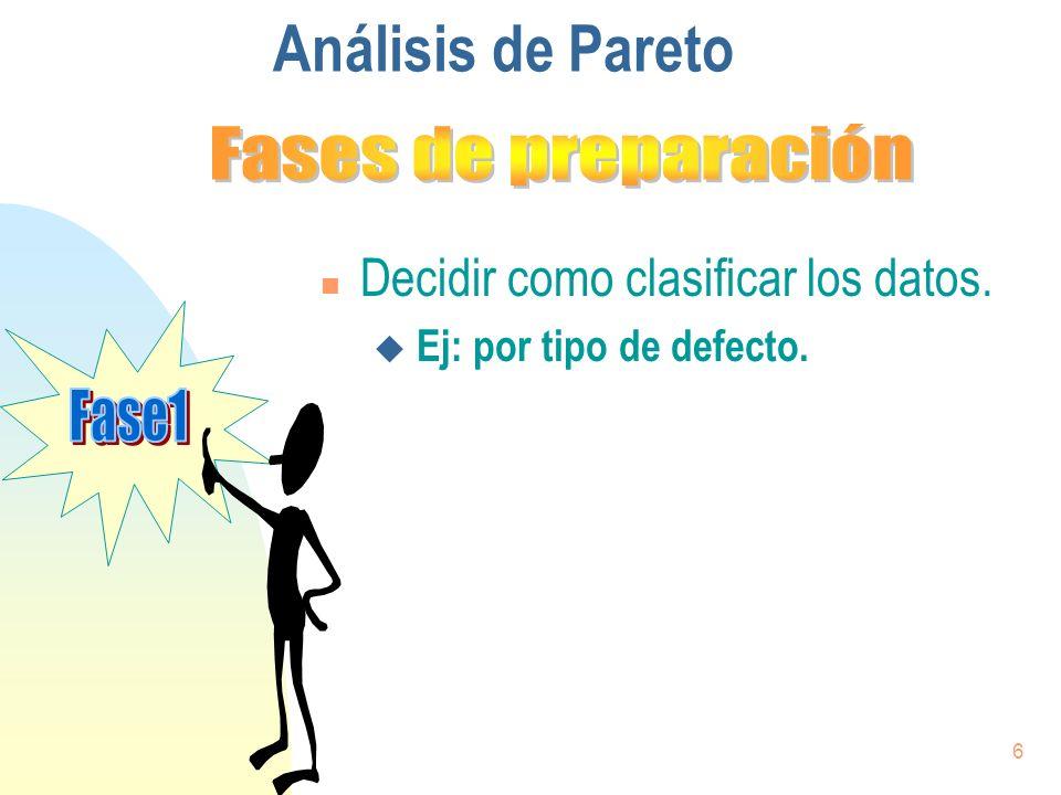 7 Análisis de Pareto n Decidir como clasificar los datos.