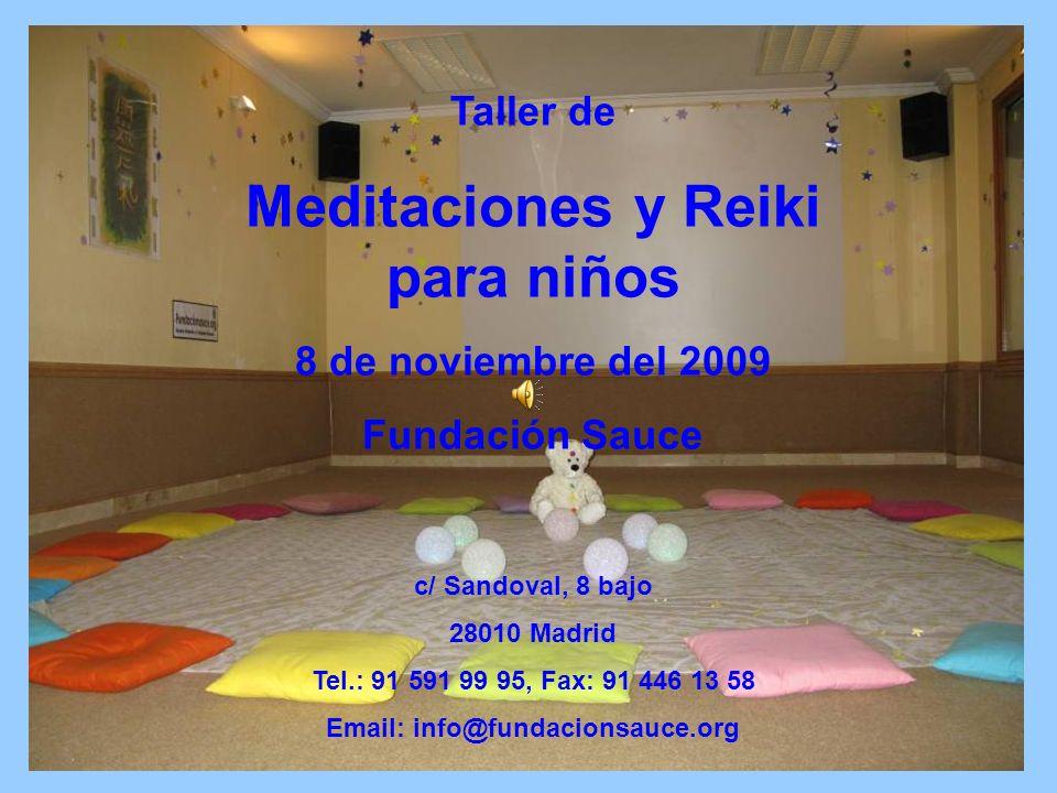 Taller de Meditaciones y Reiki para niños 8 de noviembre del 2009 Fundación Sauce c/ Sandoval, 8 bajo 28010 Madrid Tel.: 91 591 99 95, Fax: 91 446 13 58 Email: info@fundacionsauce.org