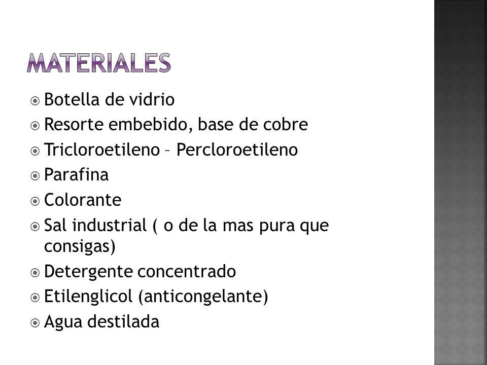 Botella de vidrio Resorte embebido, base de cobre Tricloroetileno – Percloroetileno Parafina Colorante Sal industrial ( o de la mas pura que consigas)