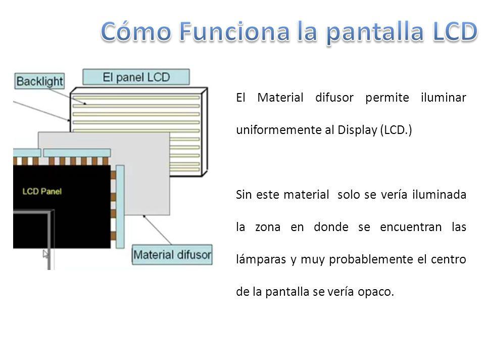 El Material difusor permite iluminar uniformemente al Display (LCD.) Sin este material solo se vería iluminada la zona en donde se encuentran las lámparas y muy probablemente el centro de la pantalla se vería opaco.