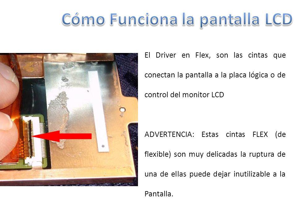 El Driver en Flex, son las cintas que conectan la pantalla a la placa lógica o de control del monitor LCD ADVERTENCIA: Estas cintas FLEX (de flexible) son muy delicadas la ruptura de una de ellas puede dejar inutilizable a la Pantalla.