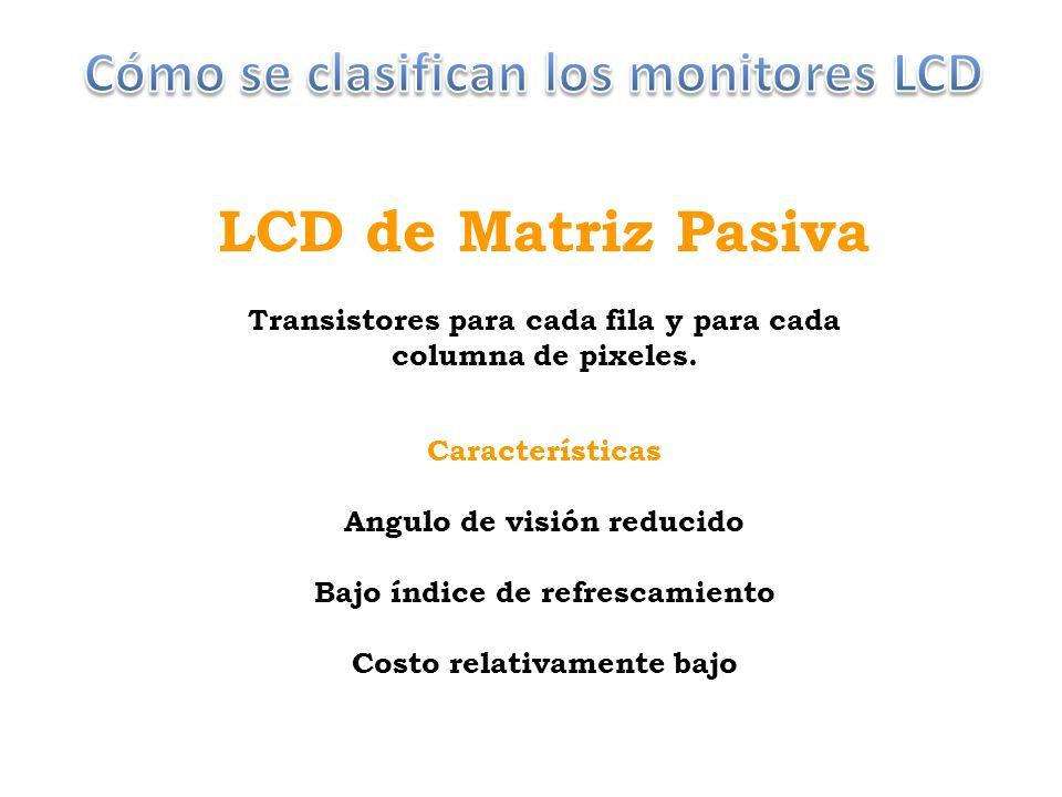 LCD de Matriz Pasiva Transistores para cada fila y para cada columna de pixeles.