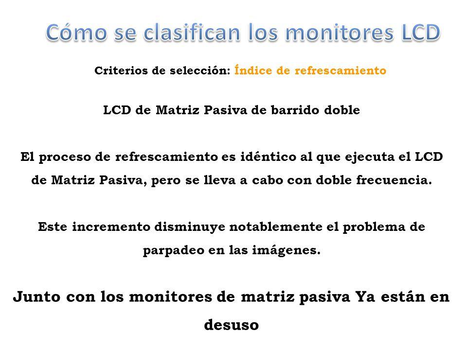 Criterios de selección: Índice de refrescamiento LCD de Matriz Pasiva de barrido doble El proceso de refrescamiento es idéntico al que ejecuta el LCD de Matriz Pasiva, pero se lleva a cabo con doble frecuencia.
