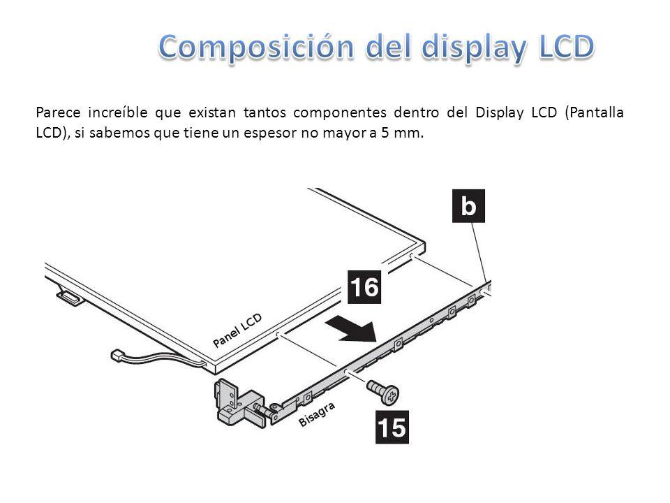 Parece increíble que existan tantos componentes dentro del Display LCD (Pantalla LCD), si sabemos que tiene un espesor no mayor a 5 mm.