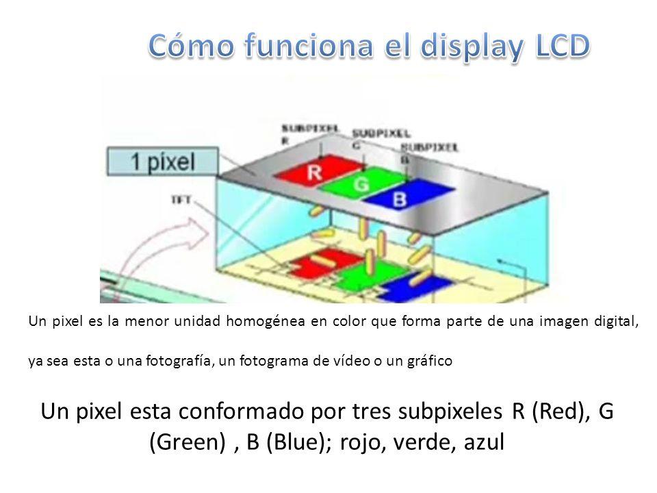 Un pixel es la menor unidad homogénea en color que forma parte de una imagen digital, ya sea esta o una fotografía, un fotograma de vídeo o un gráfico Un pixel esta conformado por tres subpixeles R (Red), G (Green), B (Blue); rojo, verde, azul