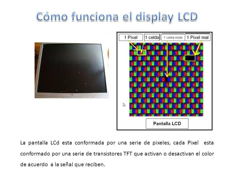 La pantalla LCd esta conformada por una serie de pixeles, cada Pixel esta conformado por una serie de transistores TFT que activan o desactivan el color de acuerdo a la señal que reciben.