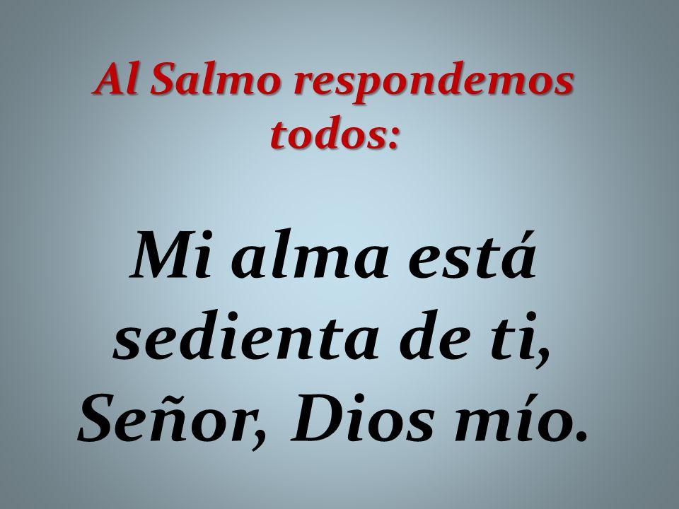 Al Salmo respondemos todos: Mi alma está sedienta de ti, Señor, Dios mío.