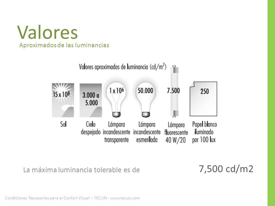Valores Aproximados de las luminancias La máxima luminancia tolerable es de 7,500 cd/m2 Condiciones Necesarias para el Confort Visual – TECUN - www.te