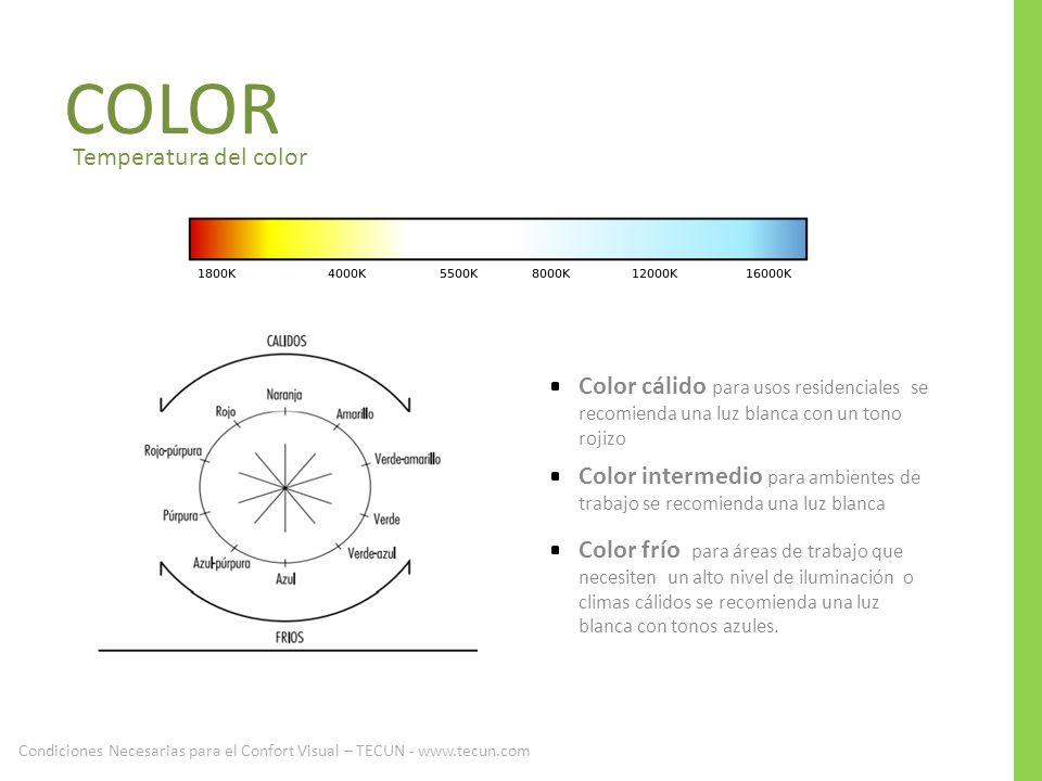 Temperatura del color Color cálido para usos residenciales se recomienda una luz blanca con un tono rojizo Color intermedio para ambientes de trabajo