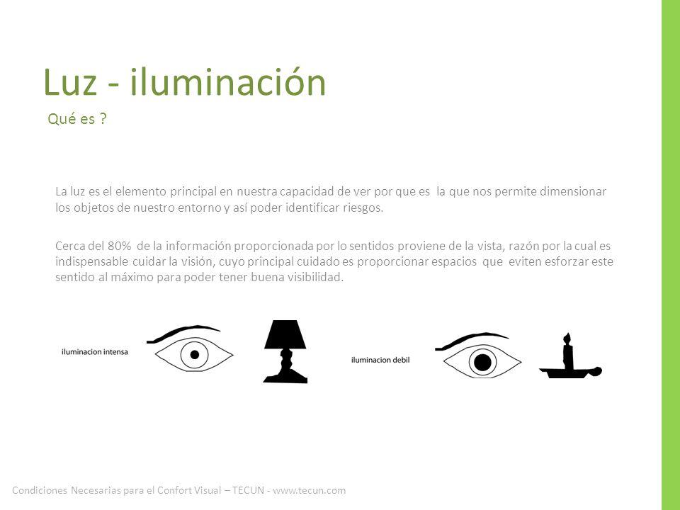Luz - iluminación La luz es el elemento principal en nuestra capacidad de ver por que es la que nos permite dimensionar los objetos de nuestro entorno