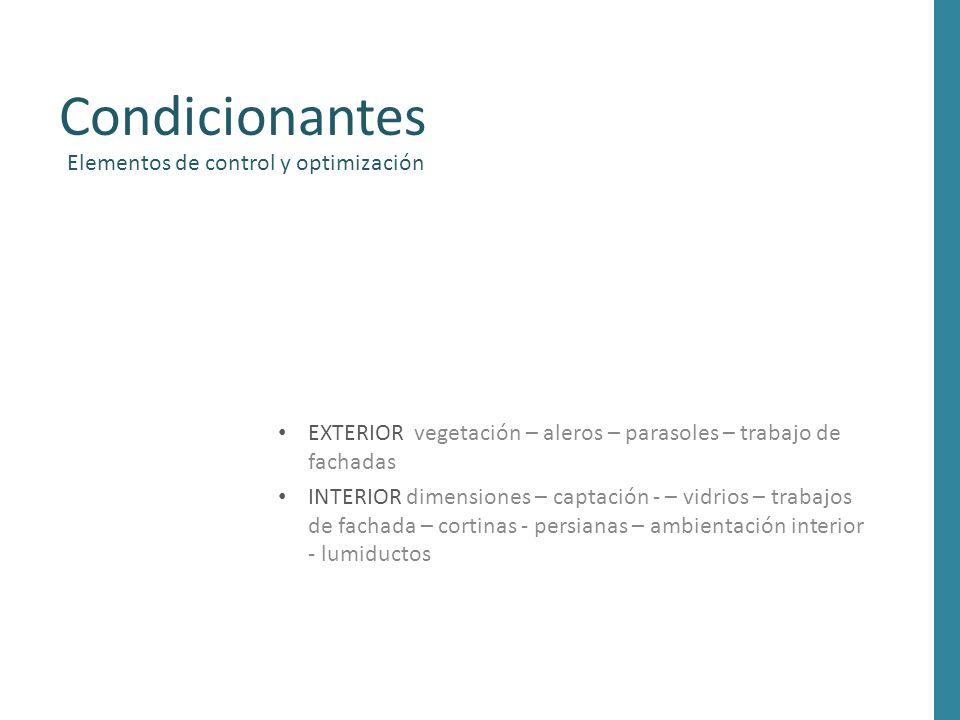 Condicionantes Elementos de control y optimización EXTERIOR vegetación – aleros – parasoles – trabajo de fachadas INTERIOR dimensiones – captación - –