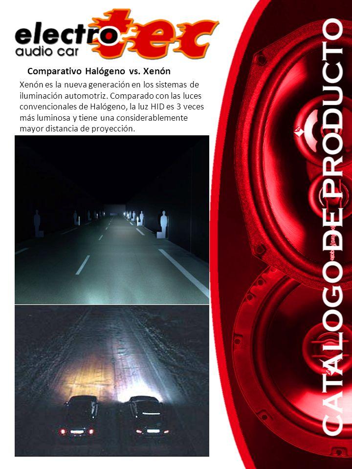 Comparativo Halógeno vs. Xenón Xenón es la nueva generación en los sistemas de iluminación automotriz. Comparado con las luces convencionales de Halóg