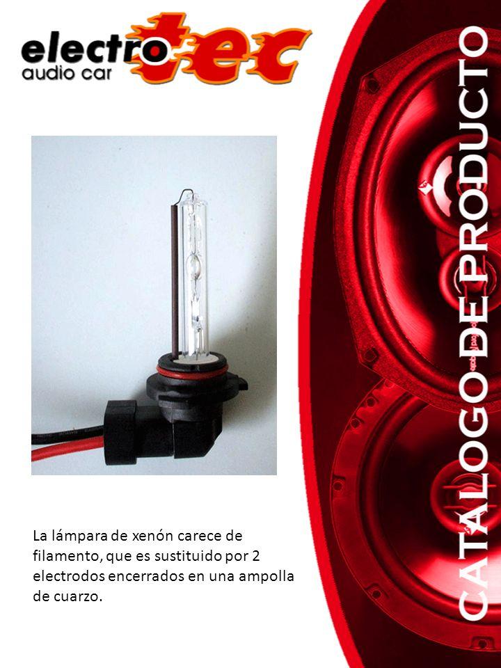 La lámpara de xenón carece de filamento, que es sustituido por 2 electrodos encerrados en una ampolla de cuarzo.