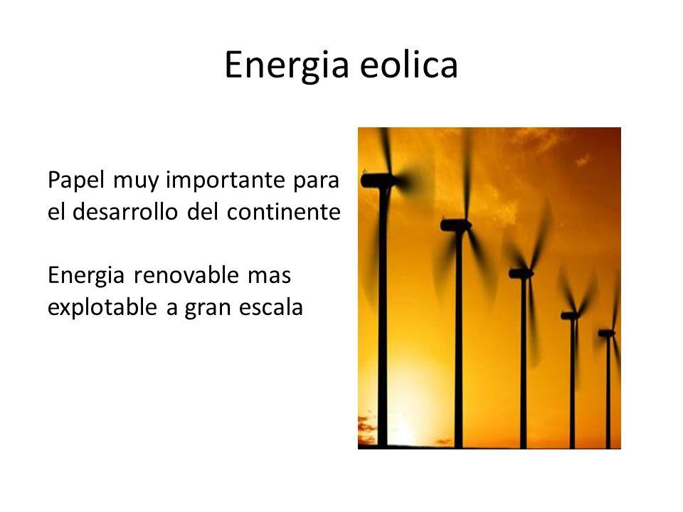 Energia eolica Papel muy importante para el desarrollo del continente Energia renovable mas explotable a gran escala
