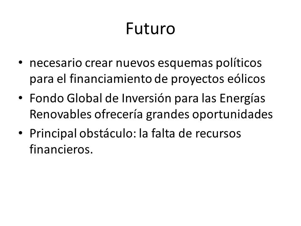 Futuro necesario crear nuevos esquemas políticos para el financiamiento de proyectos eólicos Fondo Global de Inversión para las Energías Renovables of