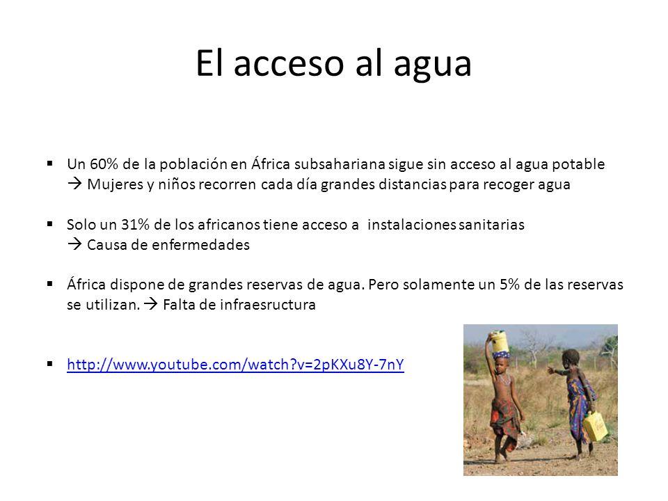 El acceso al agua Un 60% de la población en África subsahariana sigue sin acceso al agua potable Mujeres y niños recorren cada día grandes distancias