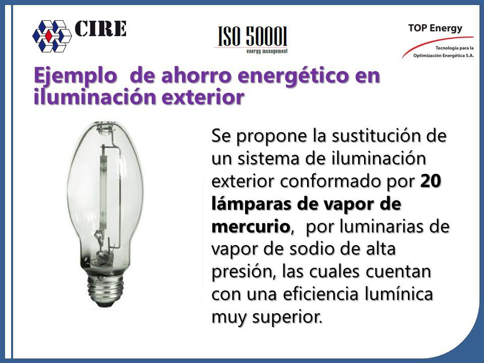 Se propone la sustitución de un sistema de iluminación exterior conformado por 20 lámparas de vapor de mercurio, por luminarias de vapor de sodio de a