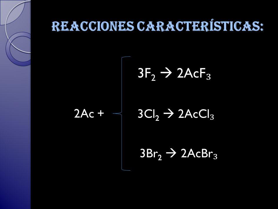 Reacciones características: 3F 2 2AcF 3Cl 2 2AcCl 3Br 2 2AcBr 2Ac +