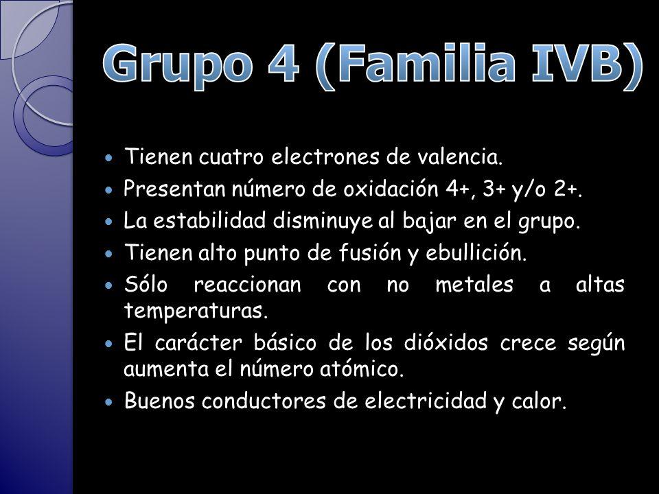 Tienen cuatro electrones de valencia.Presentan número de oxidación 4+, 3+ y/o 2+.