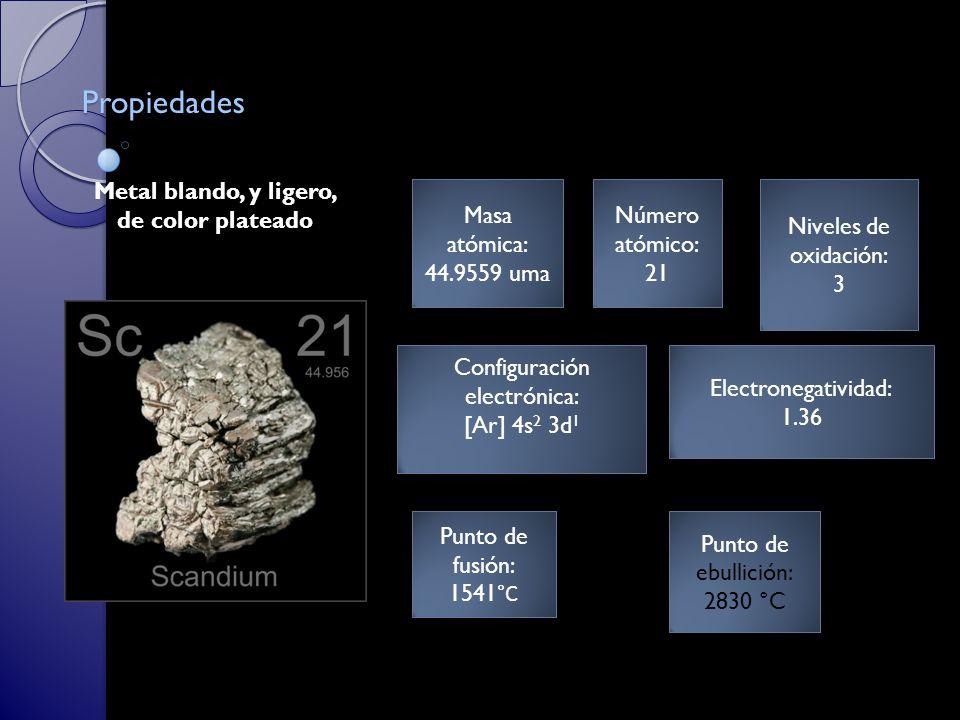 Masa atómica: 44.9559 uma Masa atómica: 44.9559 uma Número atómico: 21 Número atómico: 21 Punto de fusión: 1541 °C Punto de fusión: 1541 °C Punto de ebullición: 2830 °C Punto de ebullición: 2830 °C Electronegatividad: 1.36 Electronegatividad: 1.36 Metal blando, y ligero, de color plateado Propiedades Niveles de oxidación: 3 Niveles de oxidación: 3 Configuración electrónica: [Ar] 4s 2 3d 1 Configuración electrónica: [Ar] 4s 2 3d 1
