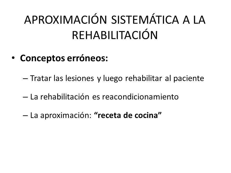 APROXIMACIÓN SISTEMÁTICA A LA REHABILITACIÓN Conceptos erróneos: – Tratar las lesiones y luego rehabilitar al paciente – La rehabilitación es reacondi
