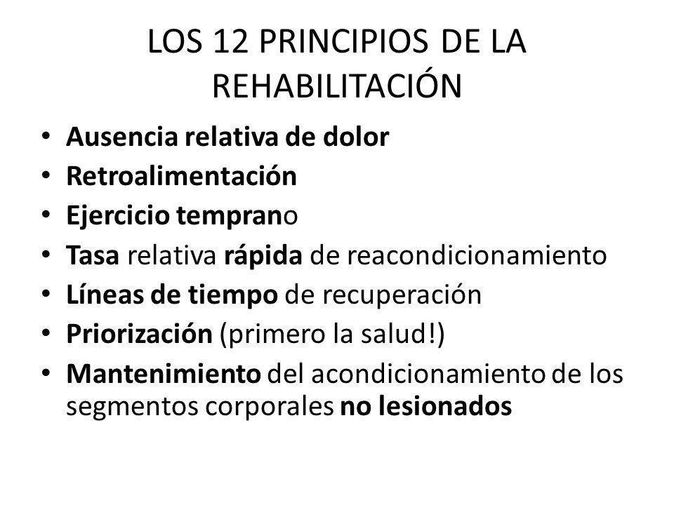 LOS 12 PRINCIPIOS DE LA REHABILITACIÓN Ausencia relativa de dolor Retroalimentación Ejercicio temprano Tasa relativa rápida de reacondicionamiento Lín