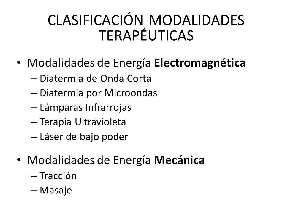 Modalidades de Energía Electromagnética – Diatermia de Onda Corta – Diatermia por Microondas – Lámparas Infrarrojas – Terapia Ultravioleta – Láser de