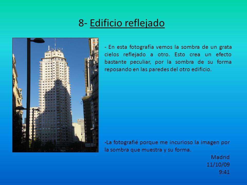 8- Edificio reflejado - En esta fotografía vemos la sombra de un grata cielos reflejado a otro. Esto crea un efecto bastante peculiar, por la sombra d