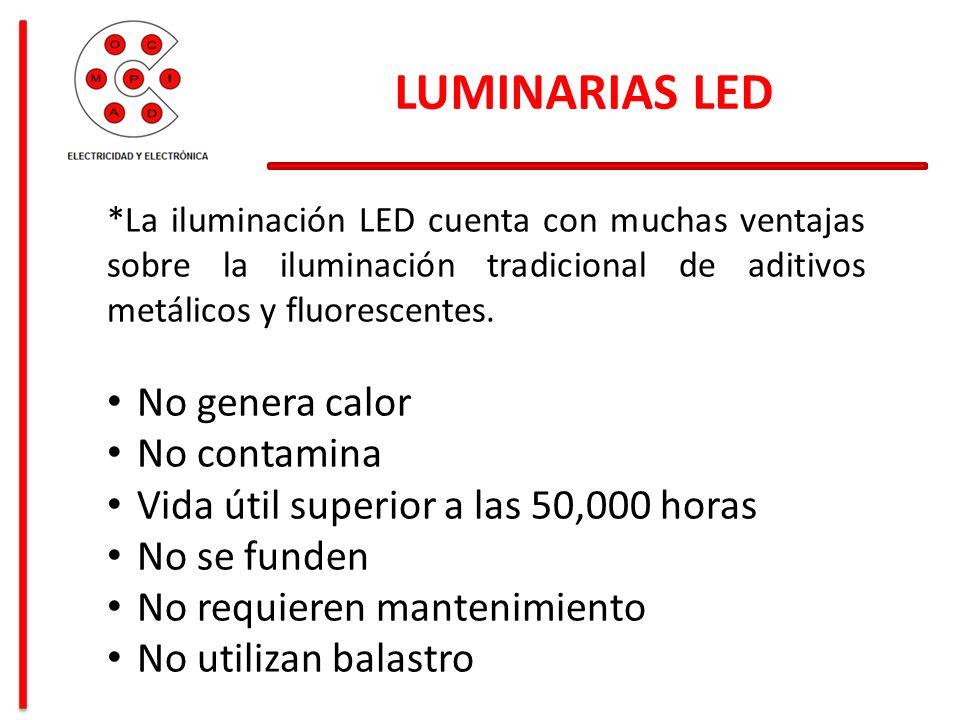 LUMINARIAS LED *La iluminación LED cuenta con muchas ventajas sobre la iluminación tradicional de aditivos metálicos y fluorescentes. No genera calor