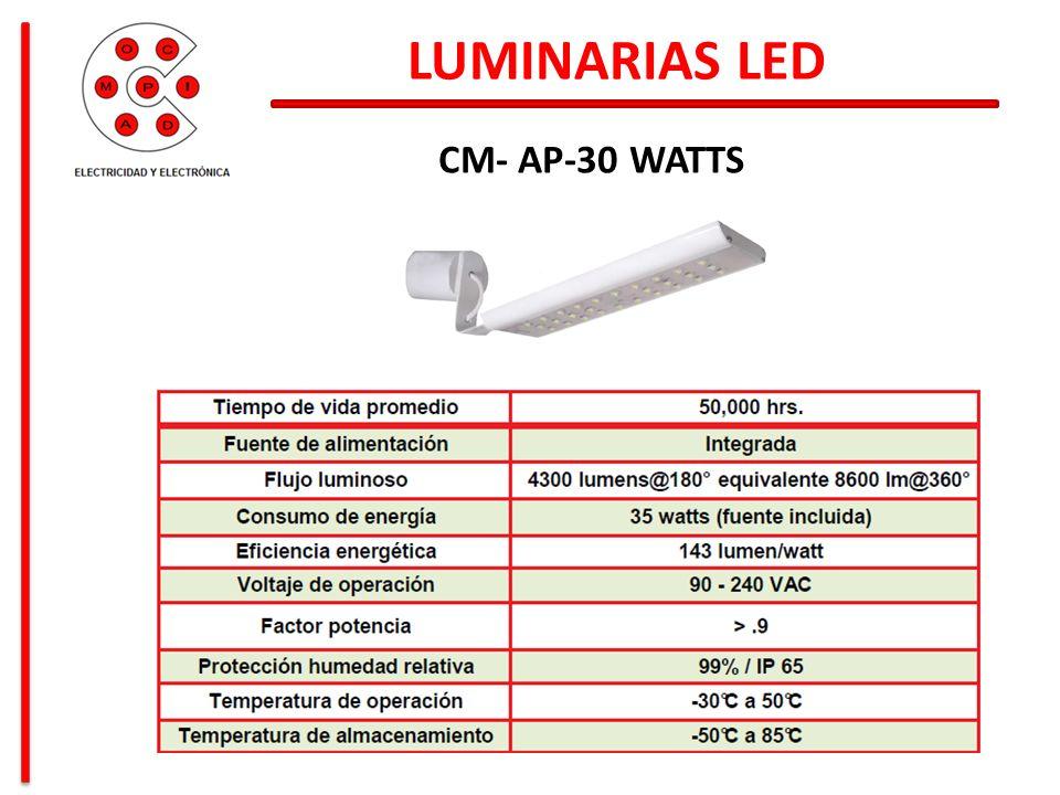 LUMINARIAS LED CM- AP-30 WATTS Consumo mensual en energía: 1,253 KW-h Mensualmente se paga: $3,304.00 Pesos Mantenimiento eléctrico de: $20,000.00