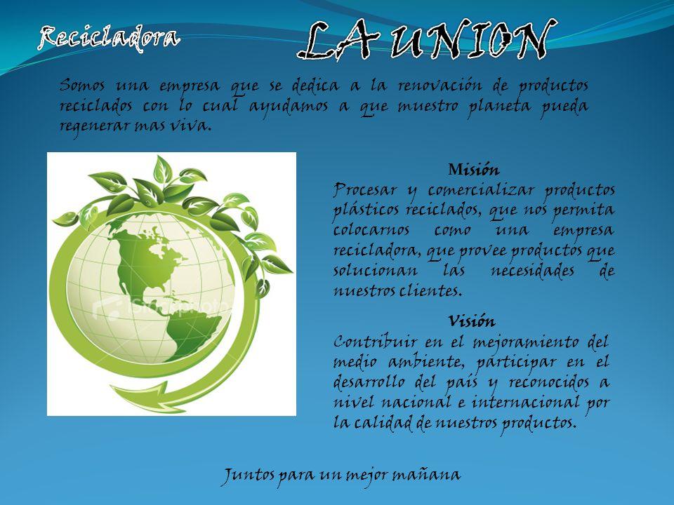 Somos una empresa que se dedica a la renovación de productos reciclados con lo cual ayudamos a que muestro planeta pueda regenerar mas viva.