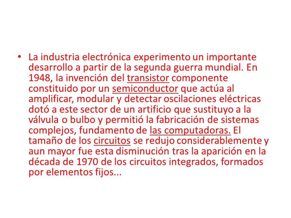 La industria electrónica experimento un importante desarrollo a partir de la segunda guerra mundial. En 1948, la invención del transistor componente c