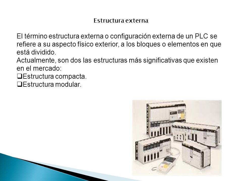Estructura externa El término estructura externa o configuración externa de un PLC se refiere a su aspecto físico exterior, a los bloques o elementos