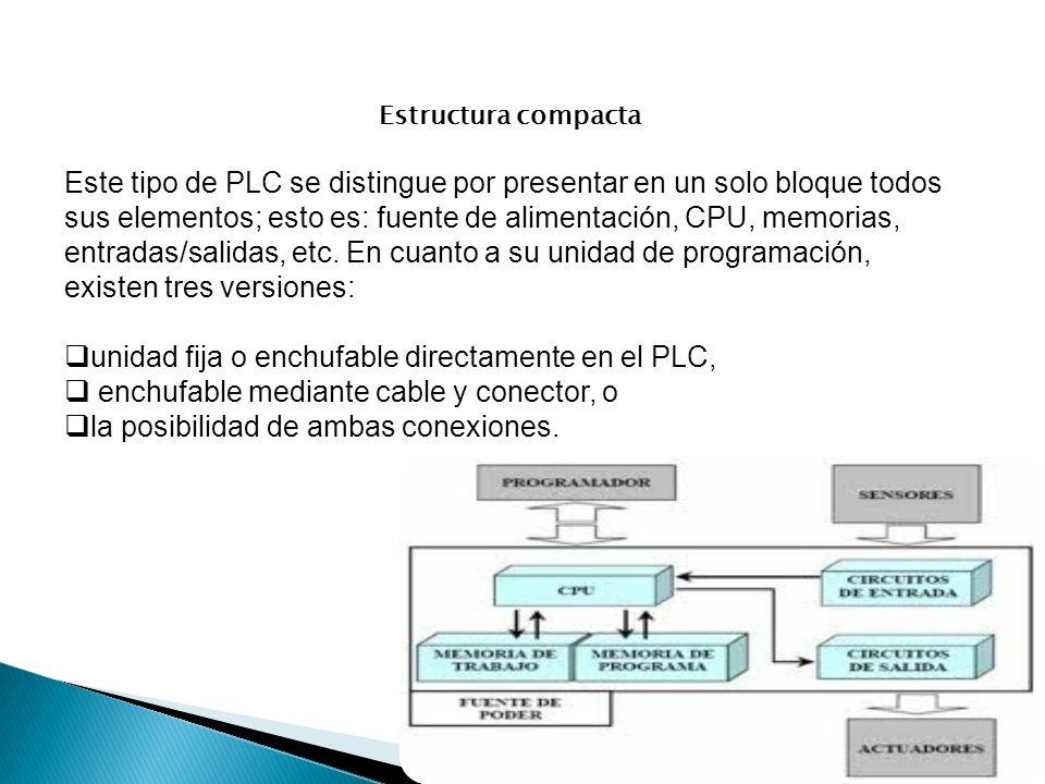 Estructura compacta Este tipo de PLC se distingue por presentar en un solo bloque todos sus elementos; esto es: fuente de alimentación, CPU, memorias,
