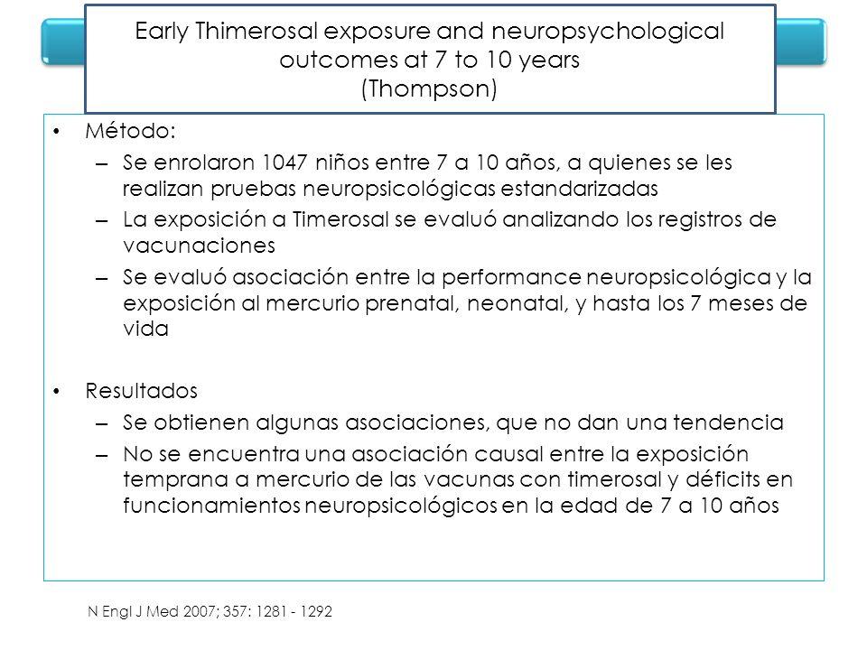 Método: – Se enrolaron 1047 niños entre 7 a 10 años, a quienes se les realizan pruebas neuropsicológicas estandarizadas – La exposición a Timerosal se