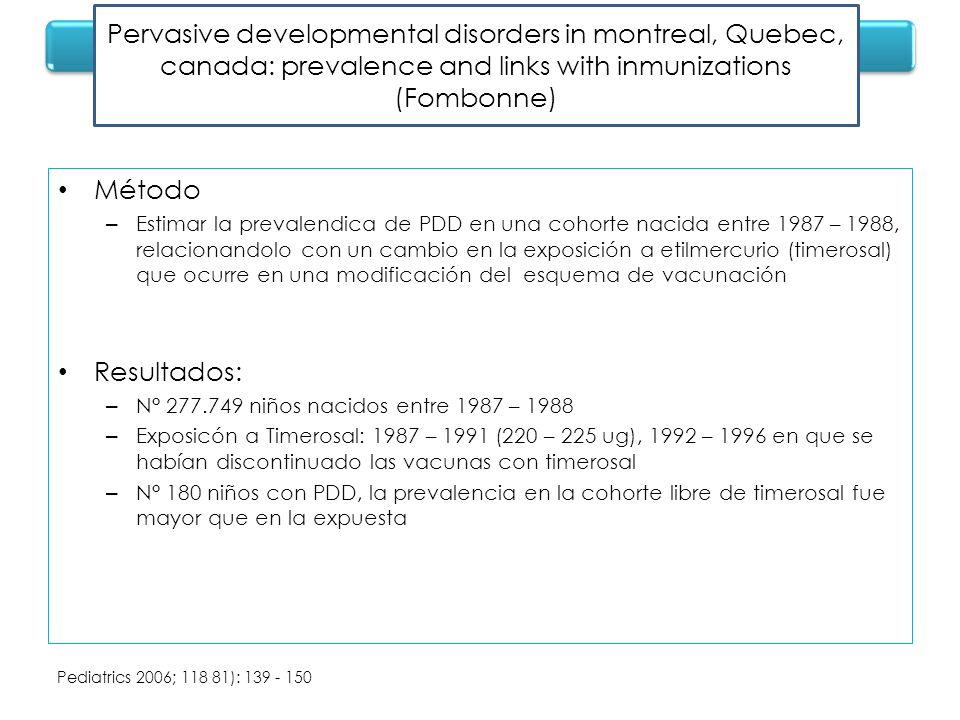 Método – Estimar la prevalendica de PDD en una cohorte nacida entre 1987 – 1988, relacionandolo con un cambio en la exposición a etilmercurio (timeros