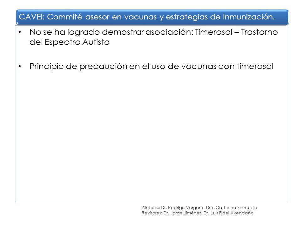 No se ha logrado demostrar asociación: Timerosal – Trastorno del Espectro Autista Principio de precaución en el uso de vacunas con timerosal CAVEI: Co