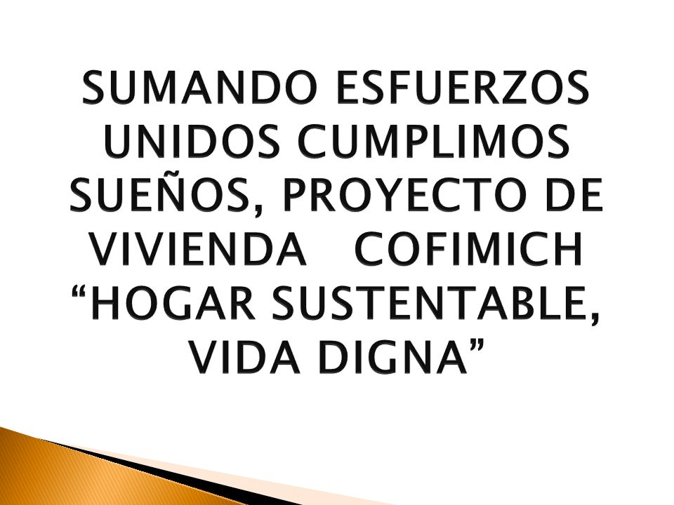 Summary of Joint Efforts to Achieve our Dreams, Project of COFIMICH (Bank and Contruction Company) housing: Sustainable Homes – Dignified Life By Mr Ulises Reyes
