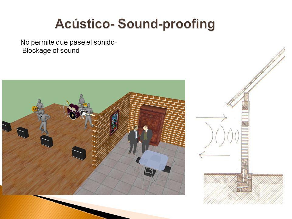 No permite que pase el sonido- Blockage of sound