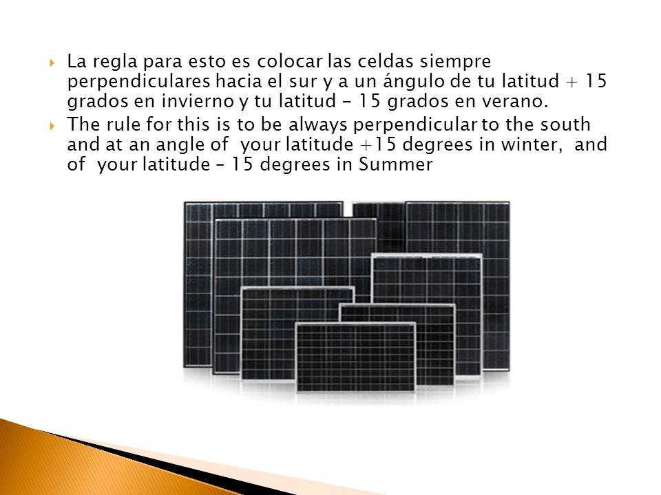 La regla para esto es colocar las celdas siempre perpendiculares hacia el sur y a un ángulo de tu latitud + 15 grados en invierno y tu latitud - 15 gr