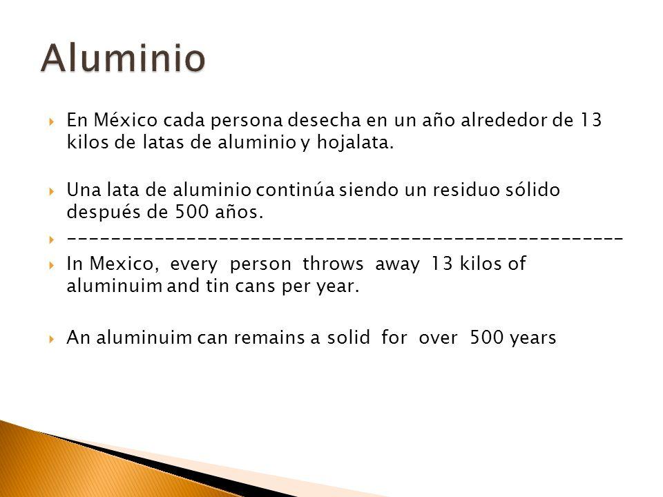 En México cada persona desecha en un año alrededor de 13 kilos de latas de aluminio y hojalata. Una lata de aluminio continúa siendo un residuo sólido