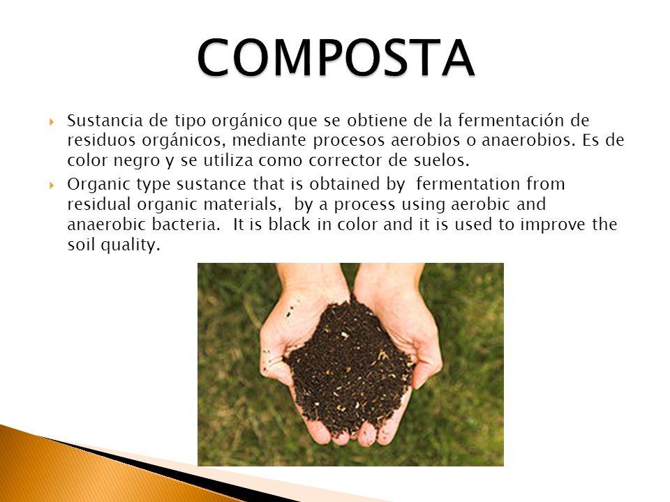Sustancia de tipo orgánico que se obtiene de la fermentación de residuos orgánicos, mediante procesos aerobios o anaerobios. Es de color negro y se ut