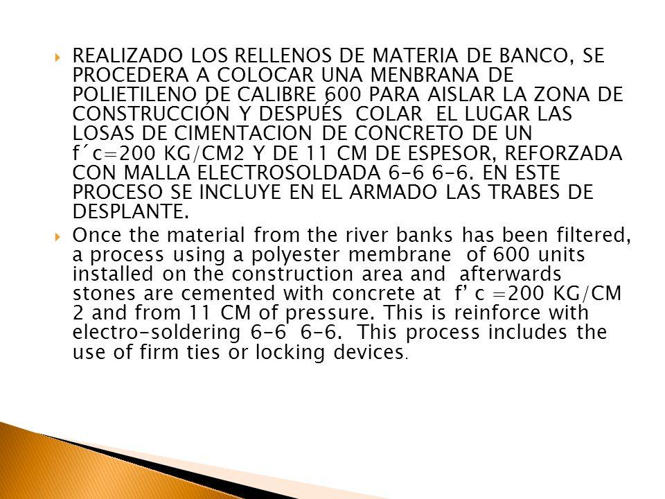 REALIZADO LOS RELLENOS DE MATERIA DE BANCO, SE PROCEDERA A COLOCAR UNA MENBRANA DE POLIETILENO DE CALIBRE 600 PARA AISLAR LA ZONA DE CONSTRUCCIÓN Y DE
