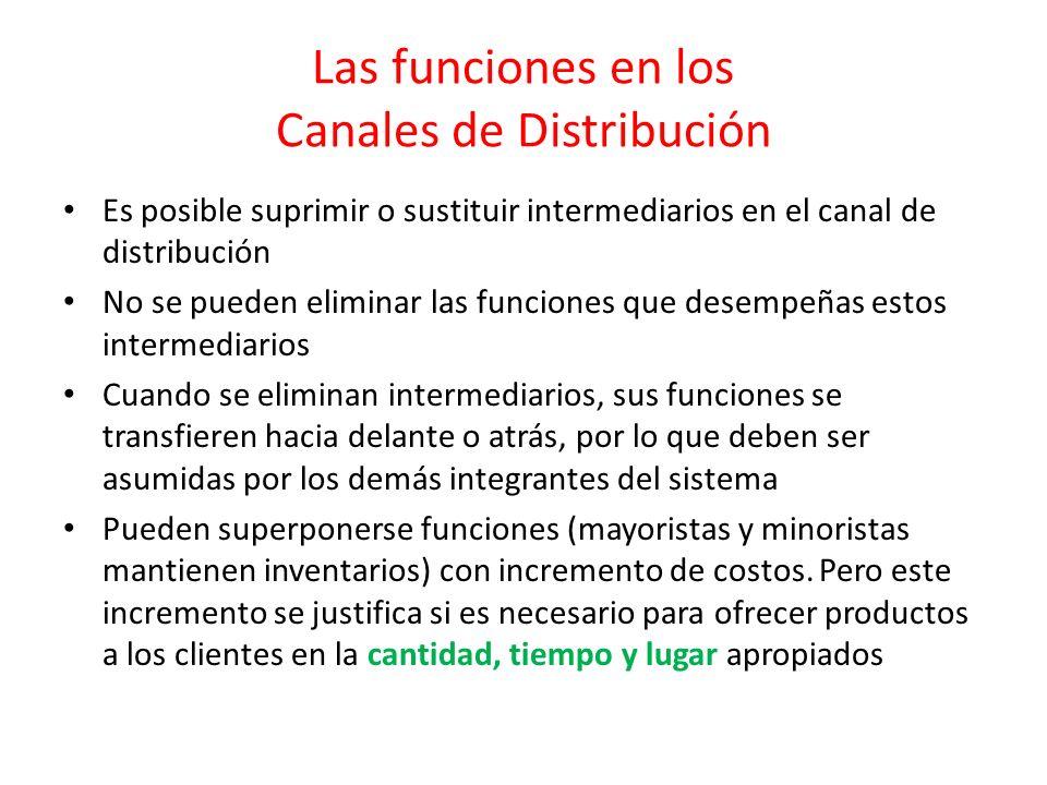 Las funciones en los Canales de Distribución Es posible suprimir o sustituir intermediarios en el canal de distribución No se pueden eliminar las func