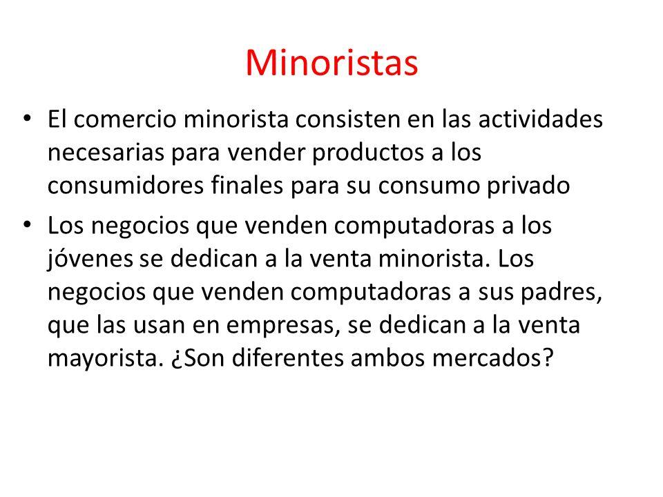 Minoristas El comercio minorista consisten en las actividades necesarias para vender productos a los consumidores finales para su consumo privado Los