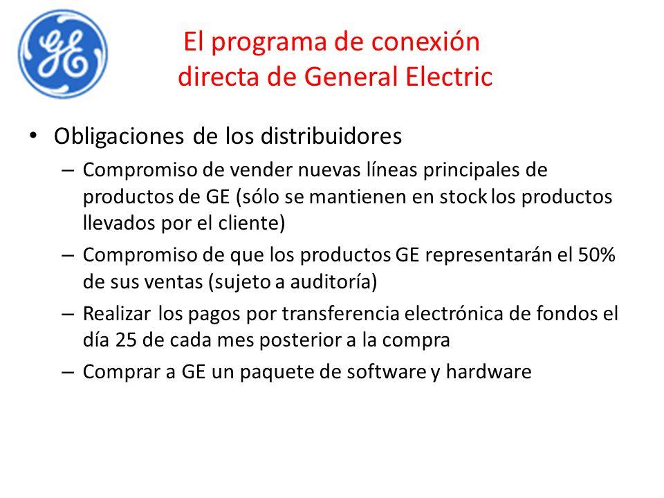 El programa de conexión directa de General Electric Obligaciones de los distribuidores – Compromiso de vender nuevas líneas principales de productos de GE (sólo se mantienen en stock los productos llevados por el cliente) – Compromiso de que los productos GE representarán el 50% de sus ventas (sujeto a auditoría) – Realizar los pagos por transferencia electrónica de fondos el día 25 de cada mes posterior a la compra – Comprar a GE un paquete de software y hardware