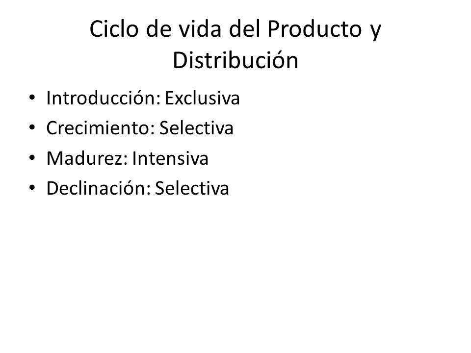 Ciclo de vida del Producto y Distribución Introducción: Exclusiva Crecimiento: Selectiva Madurez: Intensiva Declinación: Selectiva