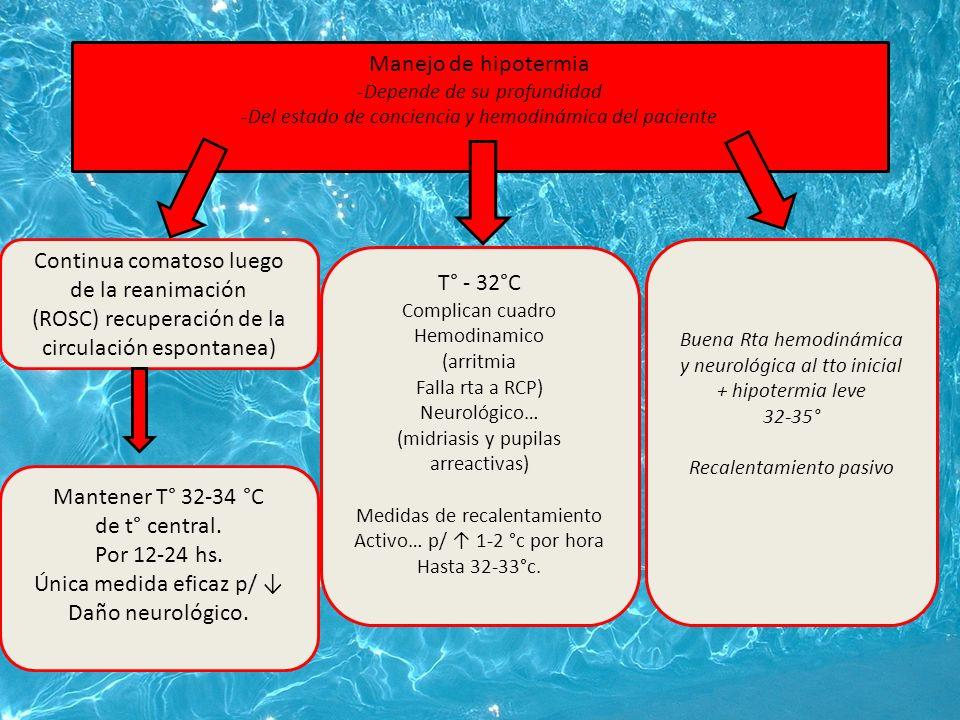 Manejo de hipotermia -Depende de su profundidad -Del estado de conciencia y hemodinámica del paciente Continua comatoso luego de la reanimación (ROSC) recuperación de la circulación espontanea) Mantener T° 32-34 °C de t° central.
