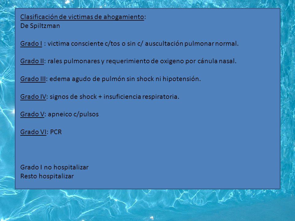 Clasificación de victimas de ahogamiento: De Spiltzman Grado I : victima consciente c/tos o sin c/ auscultación pulmonar normal.